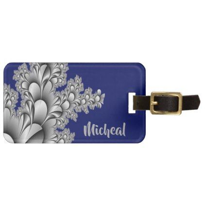 Blue and Gray Floral Painted Fractals Monogram Luggage Tag - monogram gifts unique design style monogrammed diy cyo customize