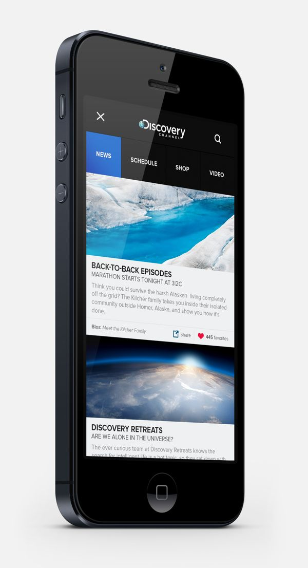 Flat UI Design in Discovery Channel App | Mobile UI Design