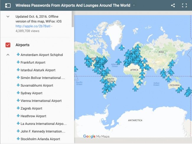 This incredible map will help you find out the Wi-Fi password for any airport in the world
