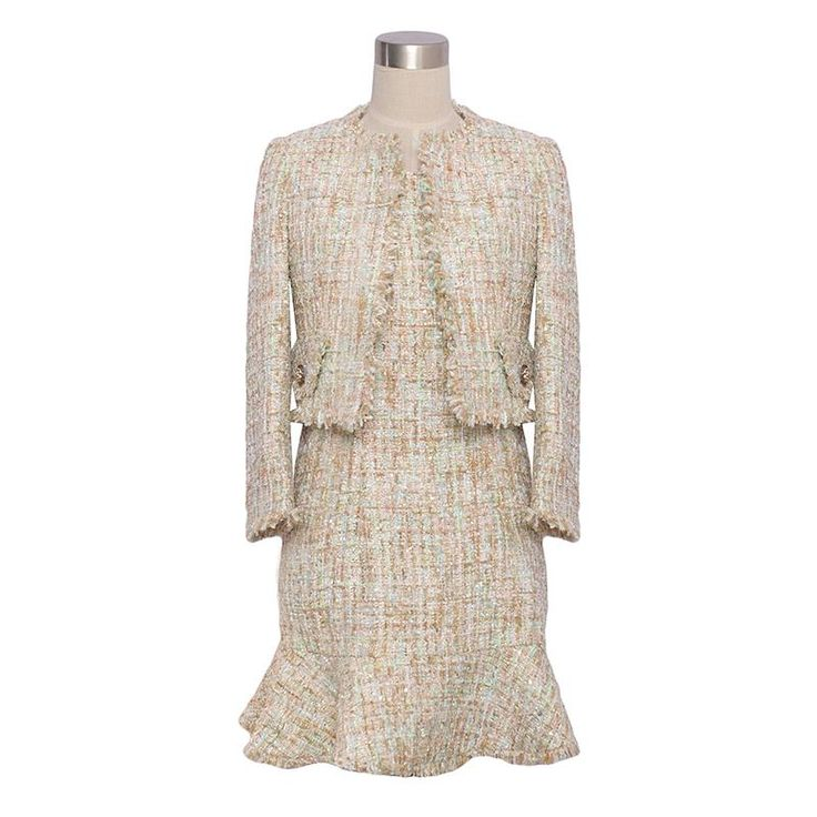 Абрикос цвет твидовый пиджак 2016 весна/осень женская куртка свежий трикотажные полосатый о образным вырезом 9 дамы твид ткань короткая куртка купить на AliExpress