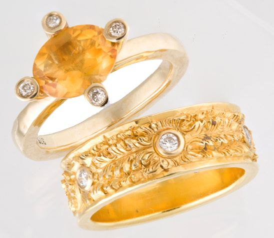 18kt Gold Hand Carved Band with Diamonds -  9kt Gold Citrine and Diamond, Mini Claw Ring