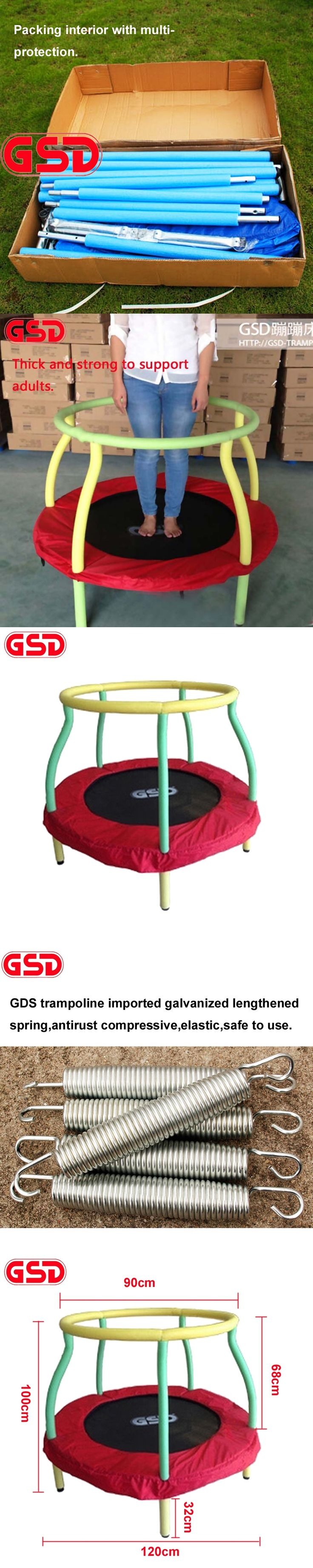 GSD High quality 4 Feet 48 Inch Round Kids Spring Trampoline with Safe Net Fits, jump bed TUV-GS CE approval
