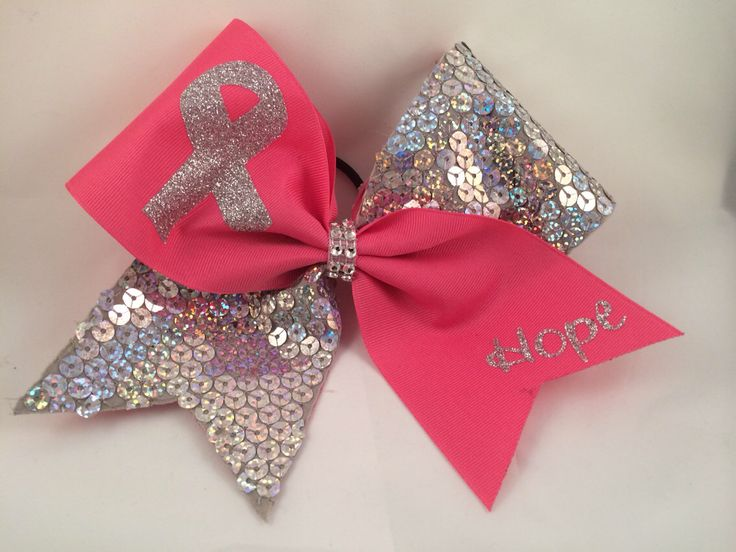 Cheer Bow - Breast Cancer Awareness Sequin by FullBidBows on Etsy https://www.etsy.com/listing/190540905/cheer-bow-breast-cancer-awareness-sequin