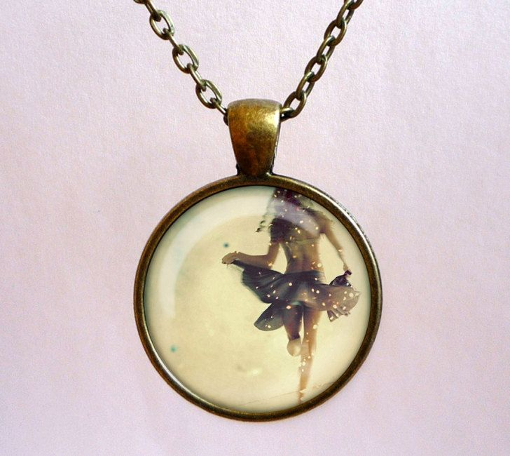 Ballerina girl with tutu pendant. Romantic style necklace. Handmade jewelry with chain by OldeOwlPendants on Etsy