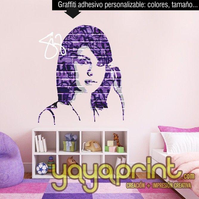 Graffiti nombre tags SELENA GOMEZ Banksy vinilo decorar pared decoración habitación CHICA juvenil moderna arte urbano mural Yayaprint