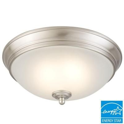 Commercial Electric Brushed Nickel LED Energy Star Flushmount - HUI8011L-2/BN at The Home Depot