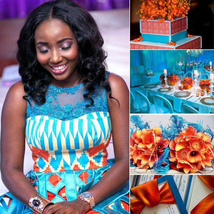 I Do Ghana   Coral/Orange & Turquoise Hues   Christie Brown Ghana Gown   Helene OPM Events   Kente Bride   Kente Wedding   African Fashion