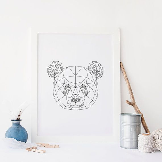 PANDA geometrische Print kwekerij Wall Art door MangoAndDesign
