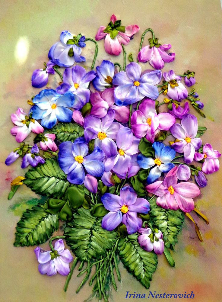 Silkribbonembroidery Painting Violets embroidered satin and silk ribbons by RibbonEmbroiderySilk on Etsy