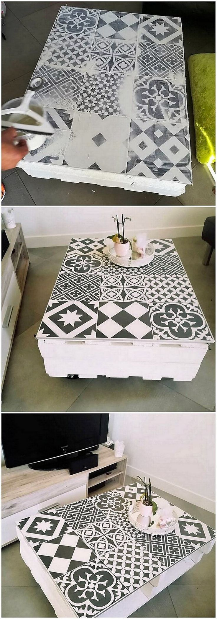 Beautiful table design of wood pallet is given out here in this image. This table is bottom shaped in structure view point where the top side of the table has been brilliant and best incorporated with the pattern stripes print work upholding.