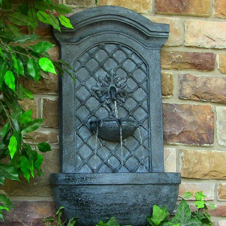 sunnydaze rosette leaf solar wall fountain