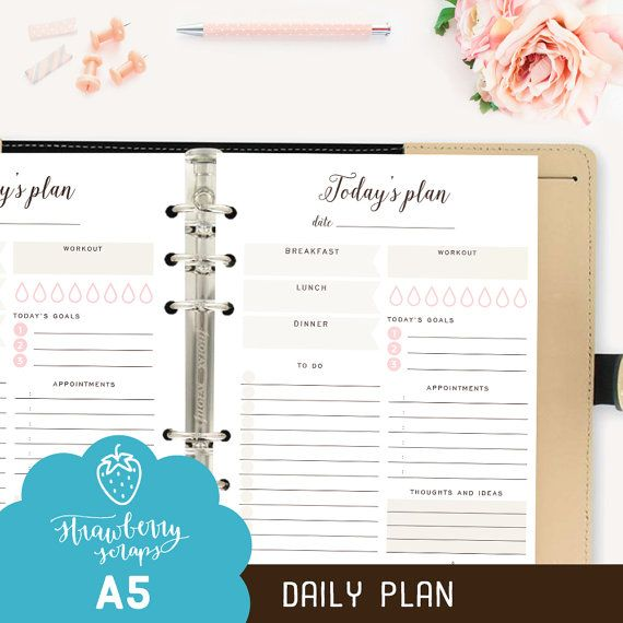 A5 Daily planner printable: TODAY'S PLAN Daily by StrawberryScraps