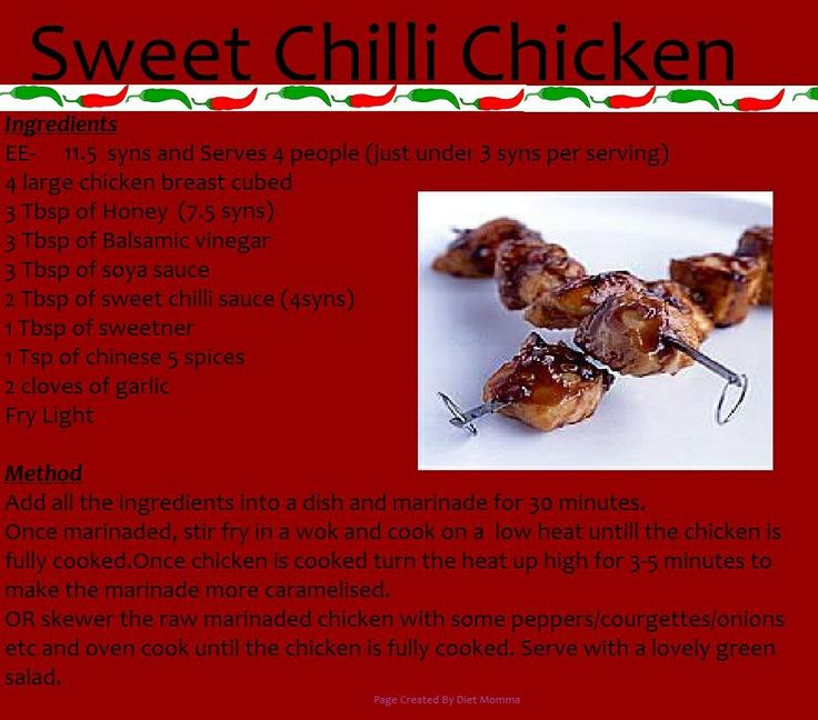 Sweet chilli chicken slimming world recipes Slimming world recipes for 1 person