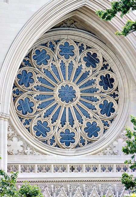 Washington National Cathedral rose window from exterior