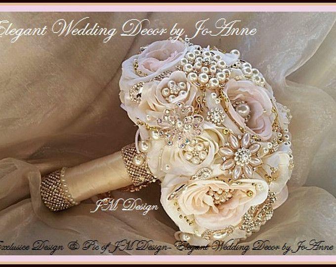 Ramo de boda de oro rosa y rosa, oro rosa broche ramo, Blush broche marfil Ramos, rosa y oro broche nupcial ramo, depósito sólo