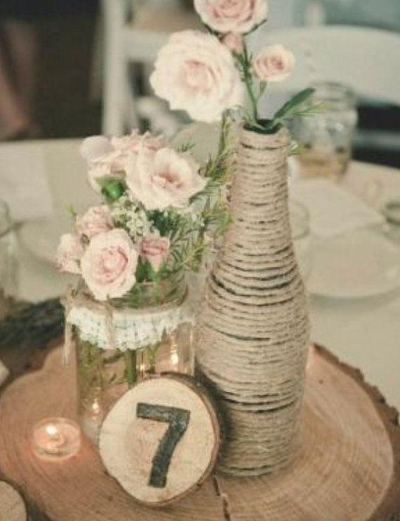 Twine wrapped bottles...Twine vases...Rustic Flower Vases... Wedding Decor