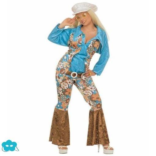 Disfraz de hippie pantalones talla grande para mujer