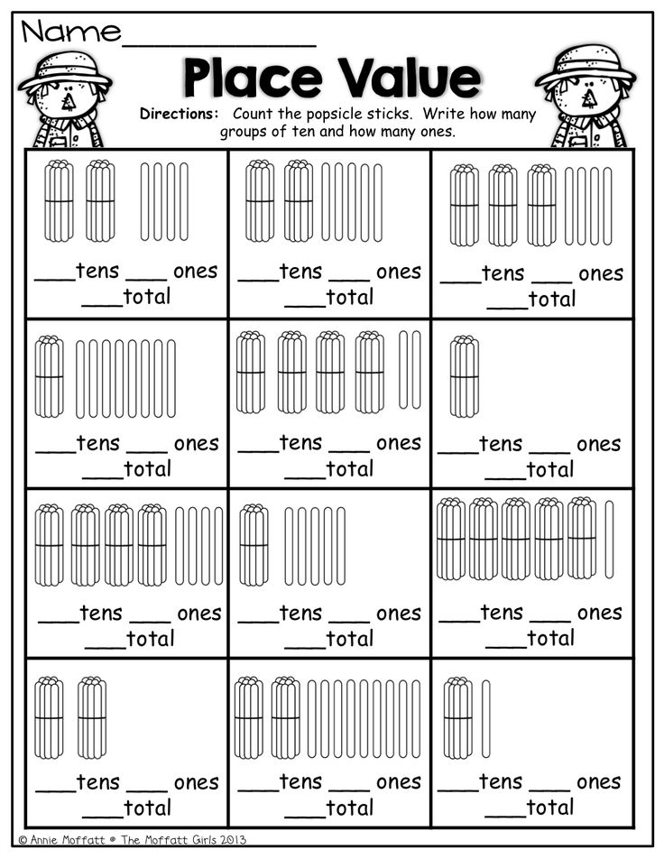 Free place value worksheets for first grade
