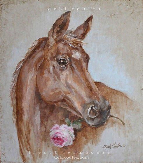 French Farmhouse Horse with Rose by Debi Coules - Debi Coules Romantic Art