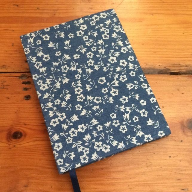 Small Notebook in a Denim Blue Floral Fabric £8.00