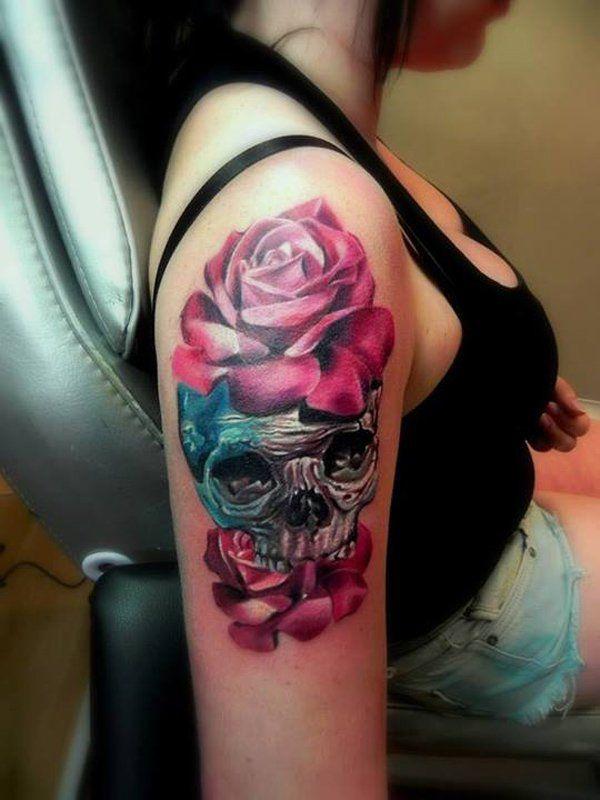 14 Skull and flower quarter sleeve tattoo