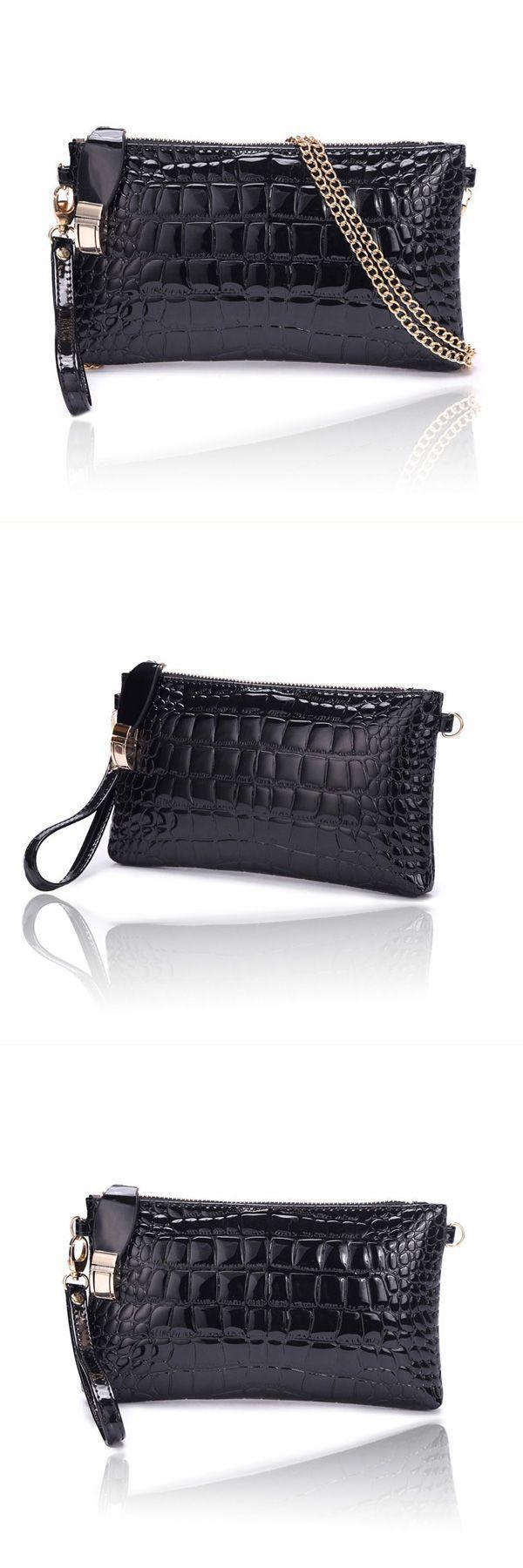 Women 8217 S Crocodile Pattern Chain Clutch Handbag Shoulder Diagonal Bags Handmade