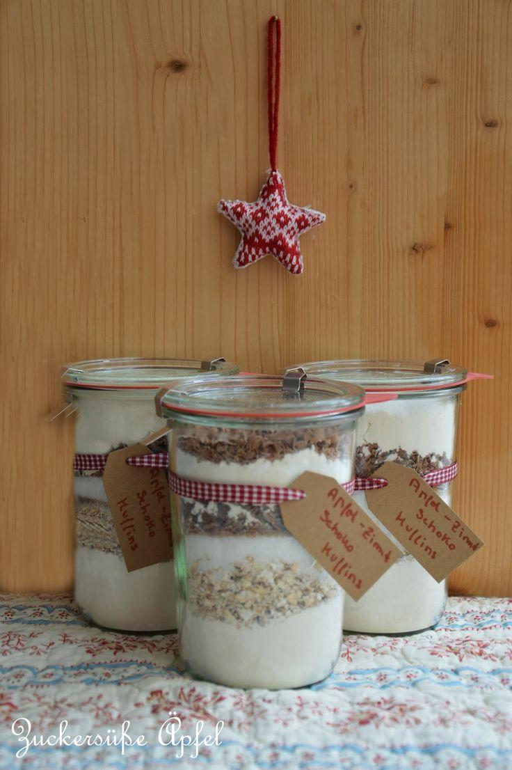 Apfel-Zimt-Schoko-Muffins mit verschiedenen Füllmengen