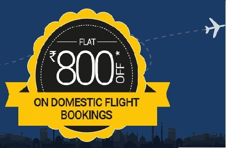 Goibibo is offering Flat Rs 800 off on Domestic flight How to catch the offer: Click here for offer page Apply offer code FLT800 Offer is valid till 31st Mar 2016. Travel validity open ended. Minimum Booking  VALUe Rs.25000