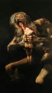 """""""Saturno che divora uno dei suoi figli"""", Francisco Goya, 1821-1823; pittura su muro trasportata su tela, 146x83 cm; Museo del Prado, Madrid."""