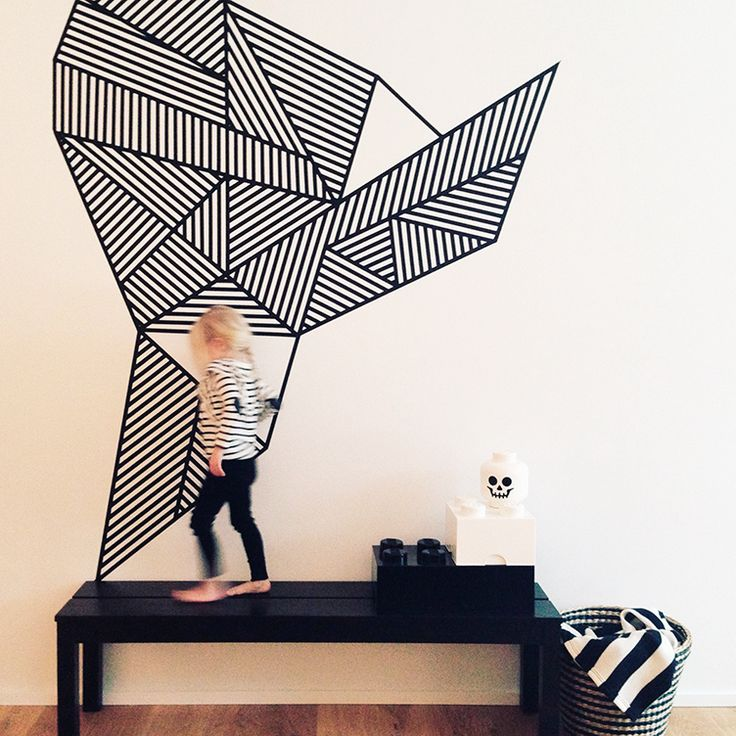 Washi tape mural #homefakeovers