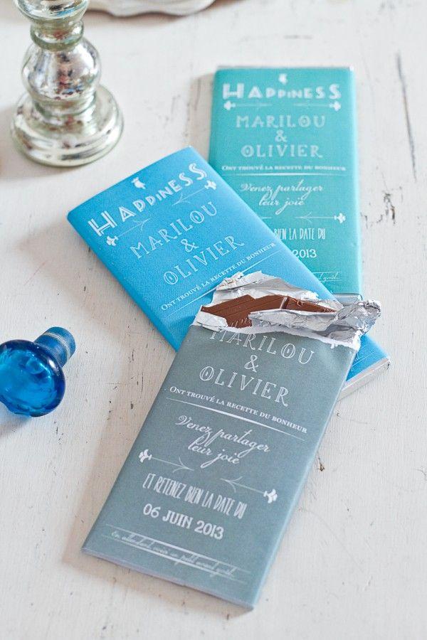 Tablettes de chocolats personnalisées en cadeau pour les invités