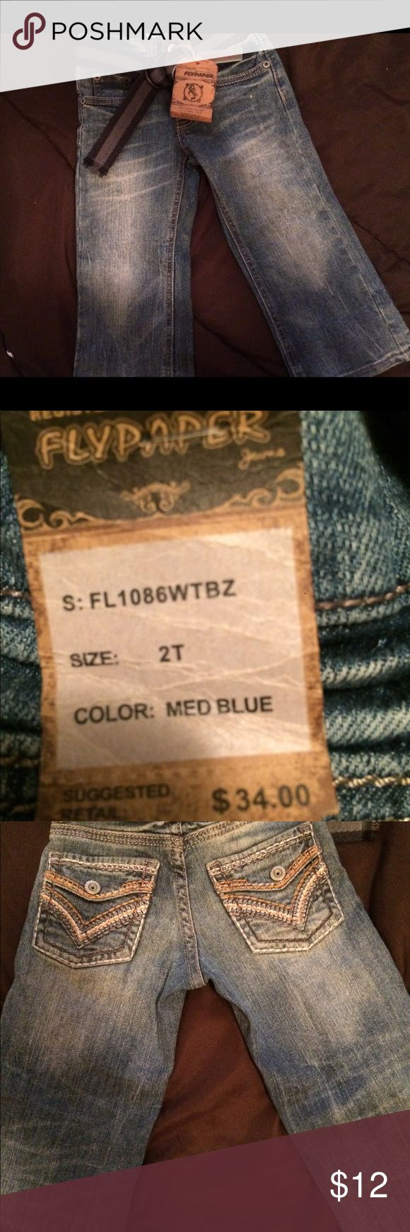 NWT 2T FLYPAPER JEANS New with tags! 2T Stretch Boot Cut Jeans with Belt. FLYPAPER Bottoms Jeans