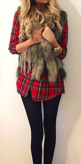 plaid + faux fur