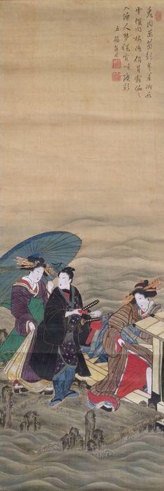 pintura de desplazamiento detallado de las geishas en una fiesta de la navegación con un samurai - Noro por Kaiseki 野 呂 介 石 (1747-1828) - Japón - Primera mitad del siglo 19