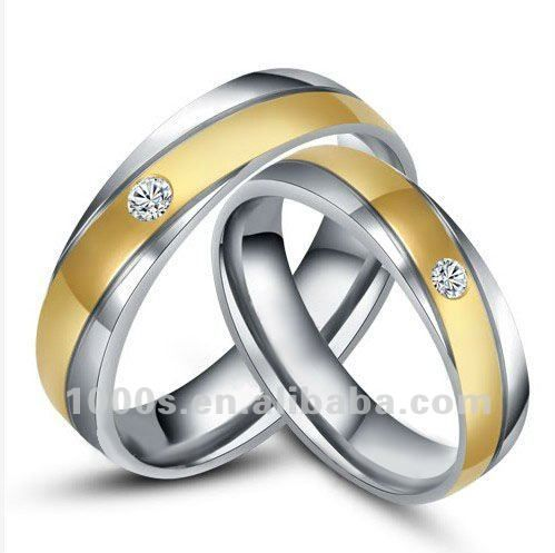 Brillant Stainless Steel Gold Stripe Wedding Ring,Couple Ring