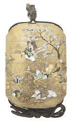 Bonhams : A gold-lacquer Shibayama-inlaid three-case inro Meiji era (1868-1912), late 19th/early 20th century