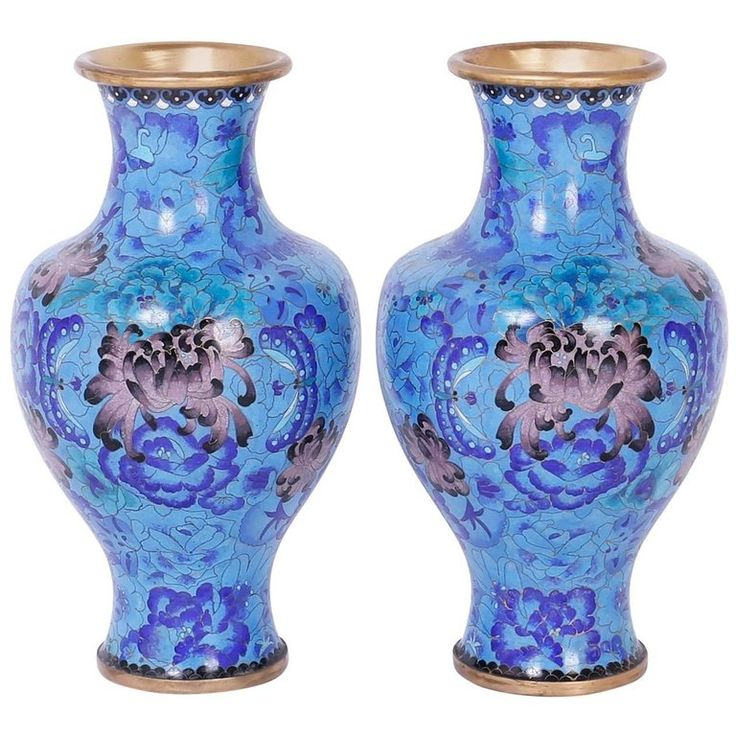 Pair of Midcentury Cloisonné Vases | From a unique collection of antique and modern vases and vessels at https://www.1stdibs.com/furniture/decorative-objects/vases-vessels/