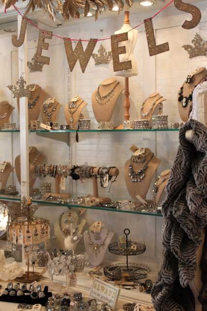A neat display of vintage jewelry found at Beekeeper's Cottage