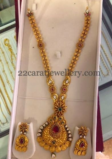 Jewellery Designs: Antique Haram with Sunshine Locket