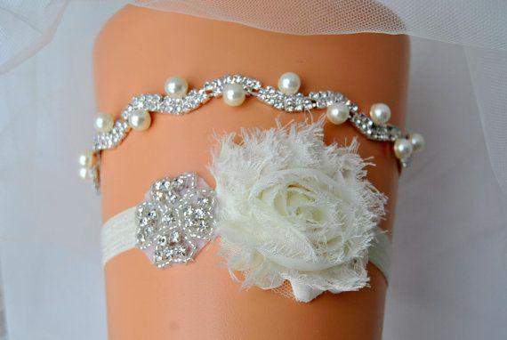 Crystal Pearls Bridal Garter Set Wedding Ivory White Shabby Chic Rhinestone Garter, Crystal Rhinestone Garter and Toss Garter Set