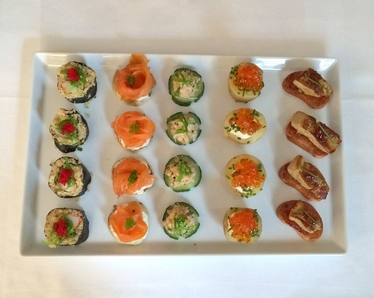 Food tasting at our office: 5 different canapés (Mini crunchy brioche with foie gras & fig jam / baby potatoes stuffed with parmesan mousse and salmon roe / Mini blinis with smoked salmon and sour cream / Cucumber roll with crab / California Maki Roll with quinoa)