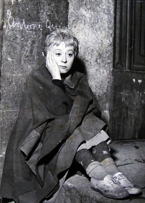 "Giulietta Masina, from Fellini's La Strada, 1954 ""I'm no use to anybody, there . . . I'm fed up with living"""