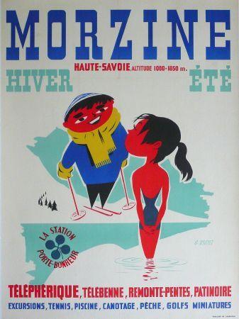 Vintage Travel Poster - Morzine Hiver et Été - Haute-Savoie - by G. Righi - c1950.
