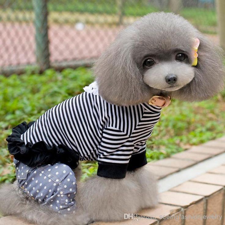 Atacado 6 tamanho cão fato do cão roupa do verão camisa listrada para poodle pomeranian teddy dog dog pet shop suprimentos produtos para cães