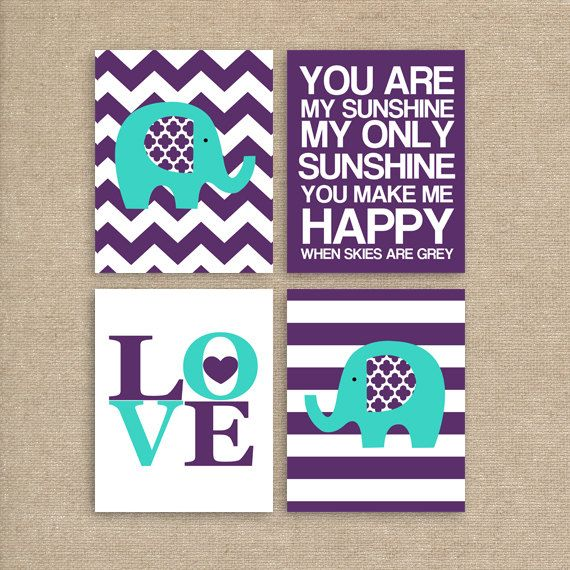 Elephant Art, Nursery Printable Art, Purple and Turquoise, Baby Nursery Art, You Are My Sunshine, INSTANT DOWNLOAD on Etsy, $20.00