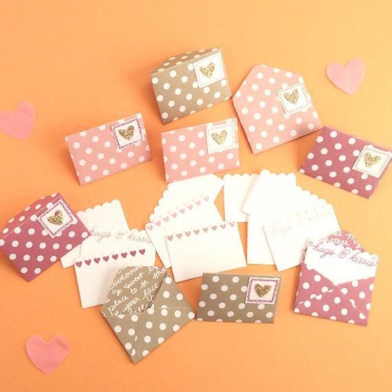 Love notes for Valentine's Day  9 mini envelopes by CherryMadeThis