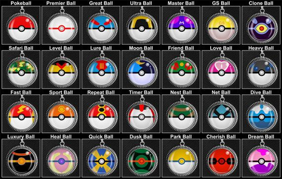 All The Different Pokeballs Necklaces On Etsy For 10 Each Video Game Jewelry Pinterest