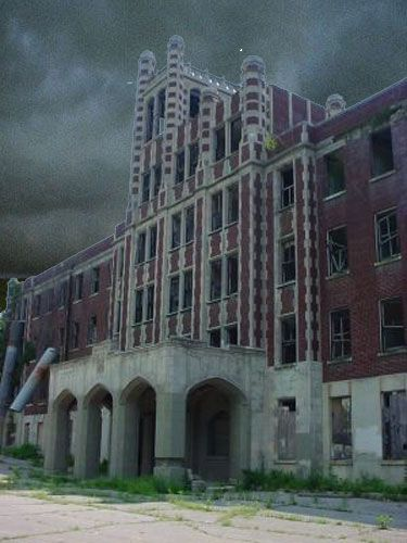 Waverly Hills Sanatorium with stormy skies.  Louisville, Kentucky.  Second and final closing was in 1982 after being renamed Woodhaven Geriatrics Sanatorium.
