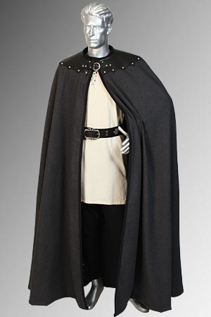 Mens Leather Trimmed Cloak No 8  Dust to Dust  Cloak