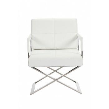 Кресло Aster X Chair белое кожаное